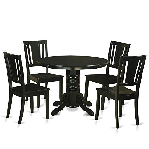 East West Furniture SHDU5-BLK-W 5 Piece Table and 4 Kitchen Chairs