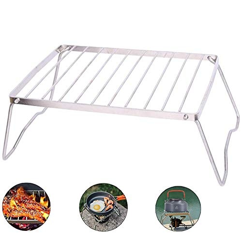 Folding Burner Stand,Backpacking Gas Burner Stove Portable Open Fire Stand Rack Lightweight Outdoor Mini Folding Compact Charcoal Barbeque Grill for Picnics - Gas Wood Stoves