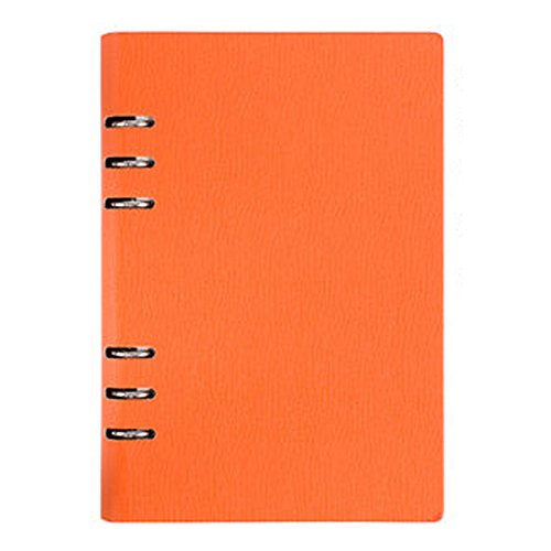 Loghot PU Refillable Business Round Ring Binder Cover Notebook 80 Sheets Ruled Filler Paper (A6 6-Ring, Orange)