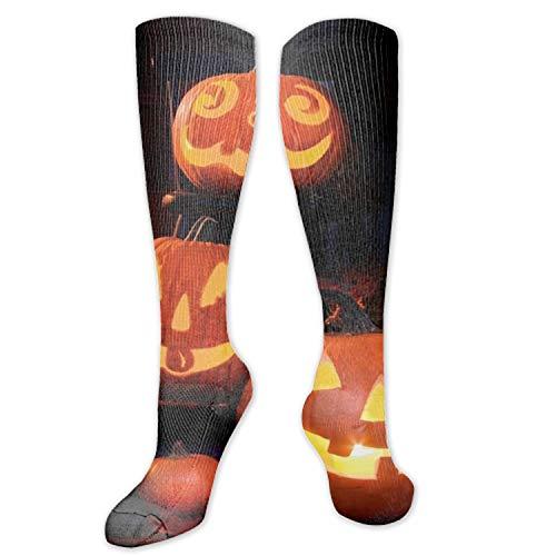 3D Abstract Artistic Digital Art Drawing Halloween Pumpkin Faces Smiles Vector Unisex Sport Elite Socks