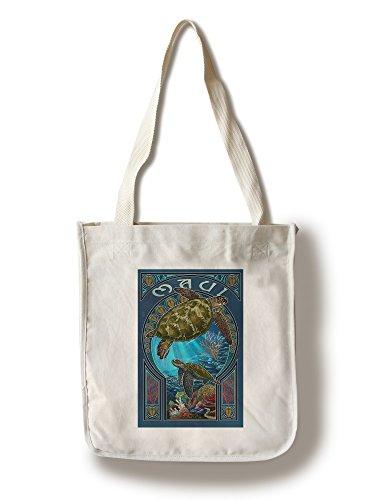 (Lantern Press Maui, Hawaii - Sea Turtle Art Nouveau (100% Cotton Tote Bag -)