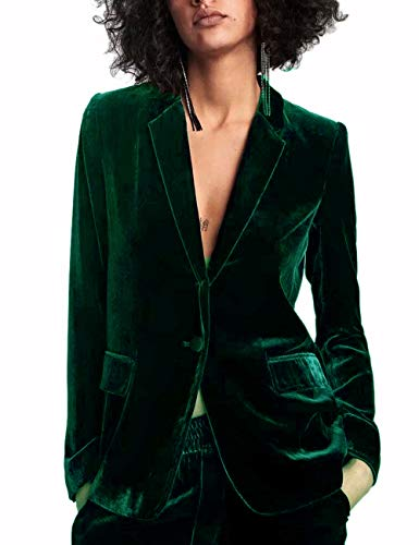 HeLov Women 1 Button Velvet Blazer Coat Slim Fit Casual Lapel Office Jacket Suit Light Green