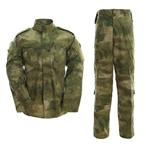 b745b25df3e41 Men's Tactical Jacket and Pants Military Camo Hunting ACU Uniform 2PC Set