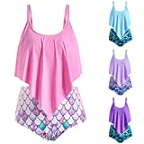 MITCOWBOYS High Waisted Swimsuits for Women Ruffled Top with Fish Scale Printed Swim Bottom Flounce Swimwear Pink