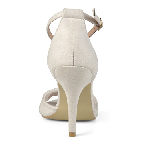 Journee Collection Mujeres Tobillo Correa Nudo Tacones Altos Hueso