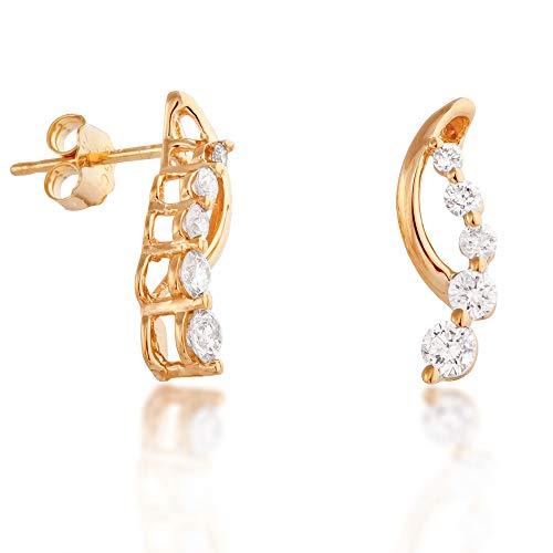 (1/2 ct. tw. Round Diamond Journey Earrings in Yellow Gold - ED3618-12TW-E)