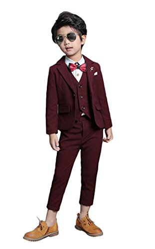 Boys Lounge Suit Blazer Vest Pants 3 Pieces Black Blue Burgundy 3 Colors (10, -