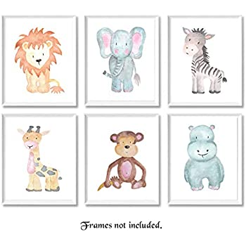Baby Safari Animals Prints for Nursery - Set of 6 8x10 Poster Pictures of Lion, Elephant, Zebra, Giraffe, Monkey & Hippo - Unframed Wall Art for Babys Room ...