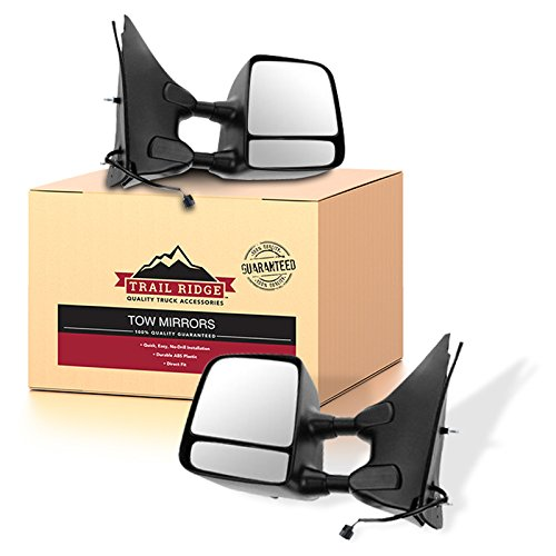 Trail Ridge Tow Mirror Power Heated Textured Black Chrome Pair for Nissan Suzuki ()