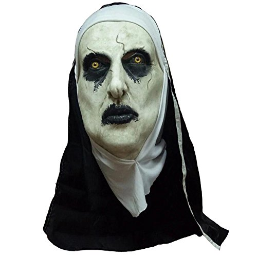 Lucky Lian Nun Mask with Hood for Adult Horror Halloween Party Porp