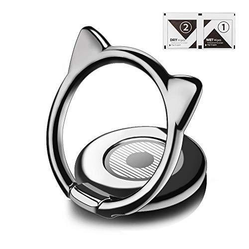 Noir Round Ring - aceyoon Phone Ring Cat Attachable Kickstand Ultra Thin Cute 360 Degree Smartphone Finger Grip Ring Holder Stand Compatible for iPhone X, XS, XR, XS Max, 8, 7 Plus, 7, 6S Plus, 6, S9, S10 Black