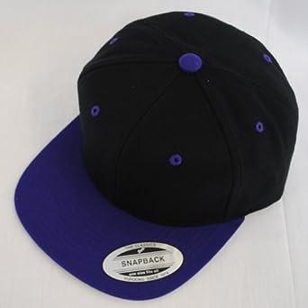 7a0b7a9b New Plain Flat Peak Retro Snapback Hat Cap Black, Green, Navy, Red, Grey,  Purple: Amazon.co.uk: Clothing