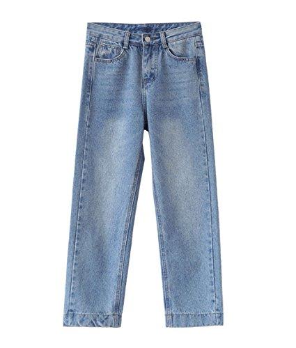 JOTHIN 2017 Donna Invernali Vita alta Blu Biancastro Jeans Larghi Relaxed Straight Calzoni Casual Vintage Eleganti Flare Pantaloni.