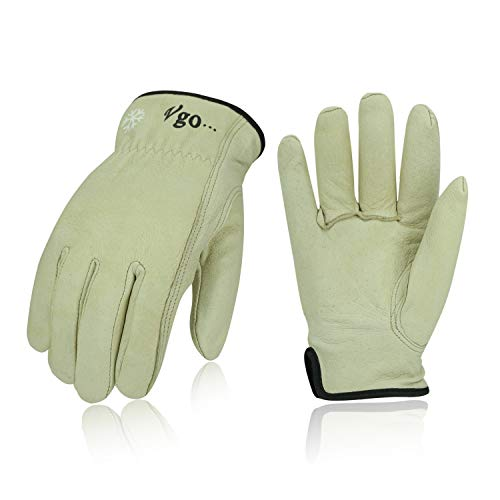 Vgo 3 Pairs 32℉ Lined Pigskin Leather Work and Driver Gloves, For Heavy Duty, Truck Driving, Warehouse, Gardening, Farm (Size XL, Cream, PA9501F)