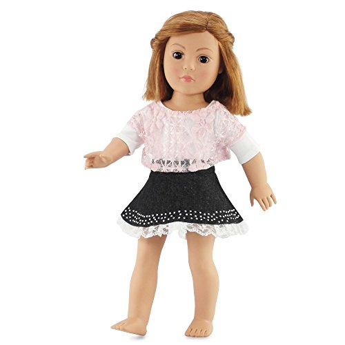 Crop Trimmed (18 Inch Doll Clothes Denim Skirt and Pink Lace Shirt Outfit | Fits 18
