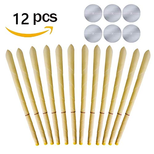LAQUTY ec-12 8pcs Beeswax Candling Cones Ear Wax Removal Kit with 4 Ptotective Disks