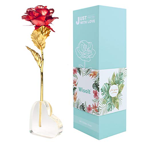 Wisolt 24K Gold Rose Flowers, New Upgraded Long Stem Gold Foil Rose with Heart Shaped Display Stand, Unique Gifts for Her, Girls, Wife, Mum ()