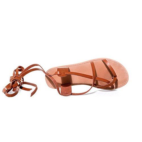 AgooLar Mujeres Mini Tacón Material Suave Sólido Cordones Puntera Dividida Sandalia Albaricoque