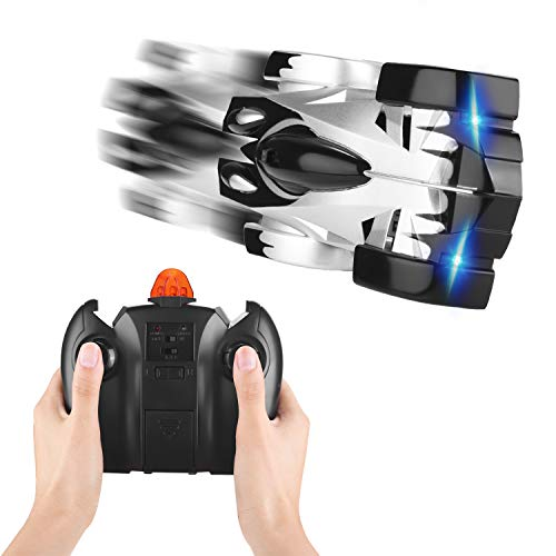 (RC Car, Kids Toy Remote Control Wall Climbing Car, Toddler Toy 360°Rotating Stunt Car Wall Car Design RC Rechargeable Car Gift for Boys and Girls (Silver))