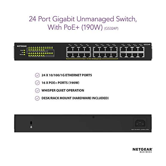 NETGEAR 24-Port Gigabit Ethernet Unmanaged PoE+ Switch (GS324P) - with 16 x PoE+ @ 190W, Desktop/Wallmount 41Ybw5QzdaL. SS555