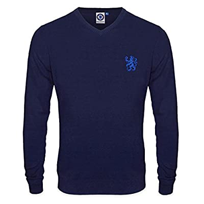 Chelsea FC Official Soccer Gift Mens Lion Crest Knitted Jumper