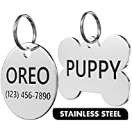Dr. Fremont's Stainless Steel Pet ID Tag Custom for Dog Cat Personalized   Many Shapes and Sizes to Choose from
