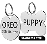 Dr. Fremont's Stainless Steel Pet ID Tag Custom for Dog Cat Personalized | Many Shapes and Sizes to Choose from