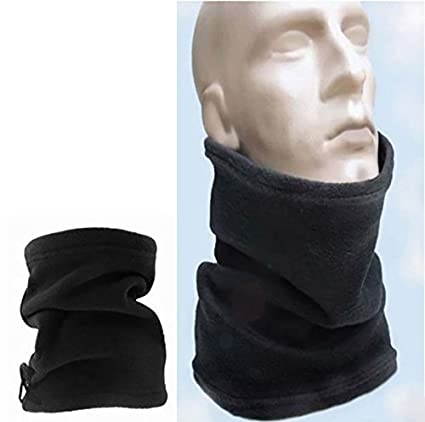 b3f06b5916a99 Polar Fleece Neck Warmer Snood Scarf Hat Unisex Thermal Ski Wear Snowboard  (Black)