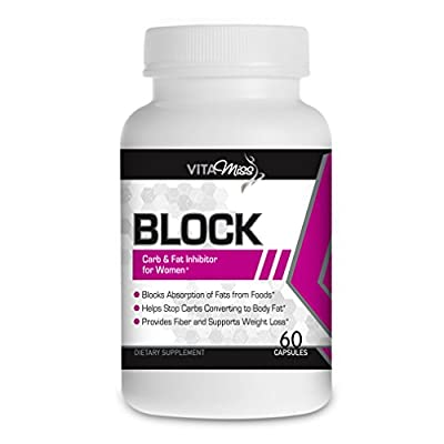 Vitamiss Block –Dual Action Fat & Carbohydrate Intercept Weight Loss Supplement Designed for Women! Block Your Fat and Carb Absorption while Suppressing Your Appetite!