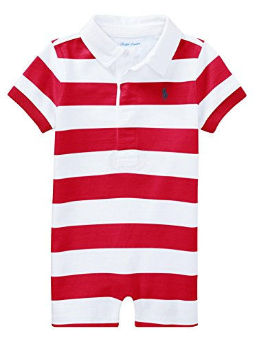 RALPH LAUREN Baby Boys Striped Cotton Rugby Shortall (9 Months, Red (Ralph Lauren Striped Romper)