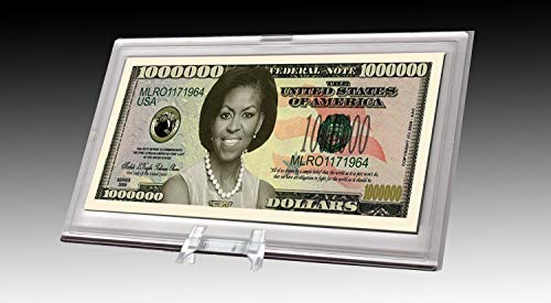 AAC / PCSCP Michelle Obama Million Dollar Bill Desktop Collectible - Comes in Currency Stand - Beautiful Office Desk Top Accessory Gift - Toy, Prank, Gag Gift