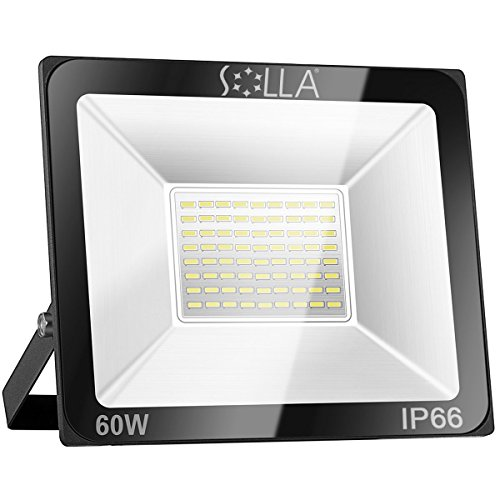 SOLLA 60W LED Flood Light, 4800lm, IP66 Waterproof, 6000K Daylight White, Super Bright Outdoor Security Lights for Yard, Garage, Warehouse, Parking Lot, Garden.