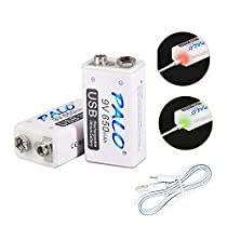 PALO USB 9v 650mAh Battery Rechargeable Li-ion with USB Cable for Keyboard Microphone Smoke Alarm