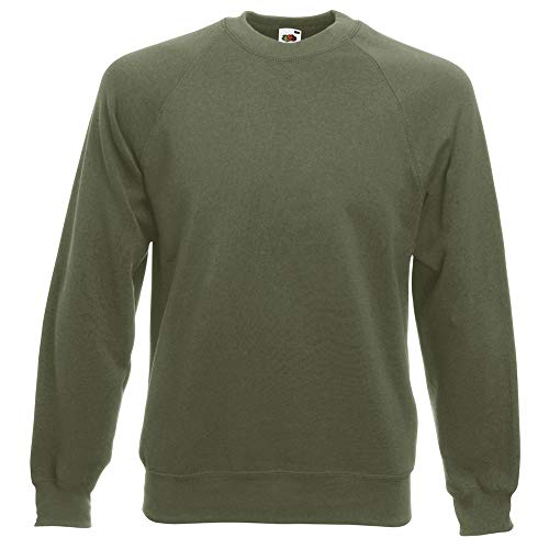 Fruit of the Loom Mens Raglan Sleeve Belcoro Sweatshirt (XL) (Classic Olive)