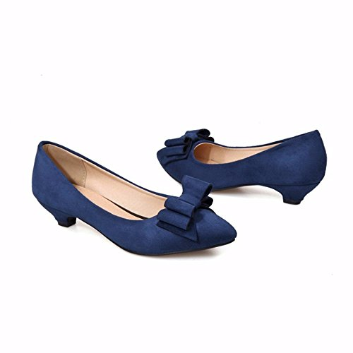 shoes Women's women's Strap blue light sweet shoes with Toe big tie big size Ankle shoes Closed mouth Pump Heels Bow Rfgn4