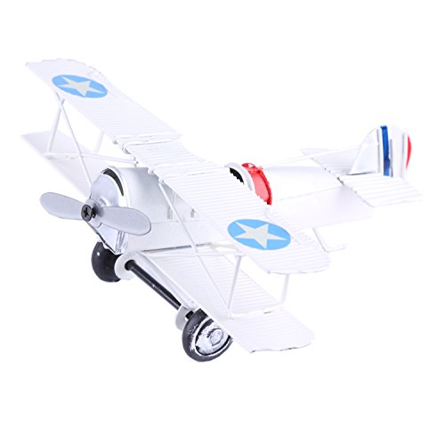 Berry President® Vintage / Retro Wrought Iron Metal Propeller Airplane Plane Aircraft Handicraft Models -The Best Choice for Photo Props/christmas Gift/home Decor/ornament/souvenir Study Room Desktop Decoration (White) (Propeller Airplane)