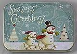 """Arts & Crafts : Holiday Gift Giving Tin by Lindy Bowman - """" Skating Snowman"""""""