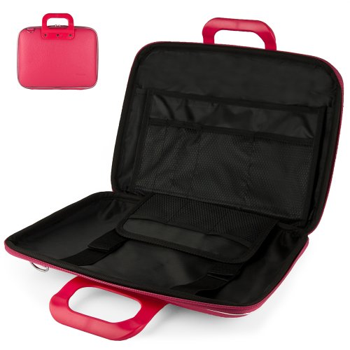 Uniquely designed SumacLife Brand Magenta Pink Ultra Durable Reinforced 12 Inch Cady Hard Shell Sports Bag for all models of the ASUS Eee PC Seashell 12.1 Inch Netbook (ASUS 1215N-PU27-RD, 1215N-PU17-SL, 1215B-PU17-BK, 1215N-PU27-RD, 1225B-SU17-BK 11.6 Inch, Netbook Laptop)