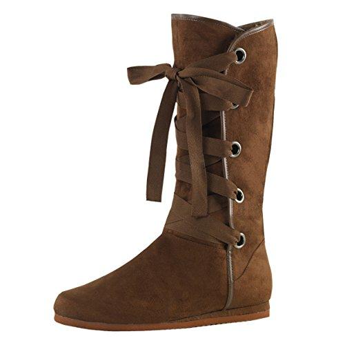 Brown Renaissance Shoes (Mens Costume Boots Renaissance Brown Boots Mid Calf Faux Fur Cuff Lace Up Shoes Size: Medium)