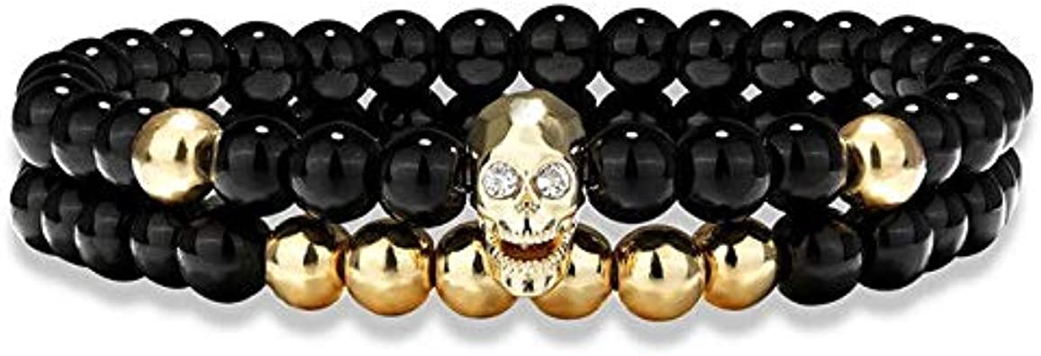 JYHW TANGYIN 2 unids/Set Charm Men Skeleton Skull Bracelet Black Agates Hematite Natural Stone Beads Pulseras para Hombres Joyas Pulseras