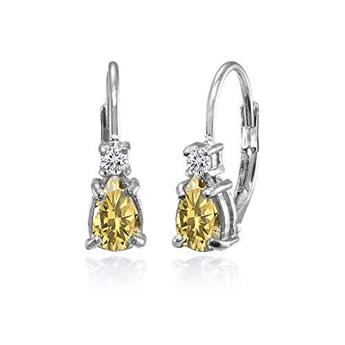 Sterling Silver Citrine and White Topaz Dainty Teardrop Huggie Leverback Earrings