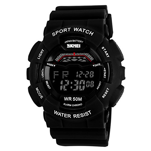 Unisex Large Dial Water-resistance Watches Casual Students Outdoor Sports Watches - Black by SK
