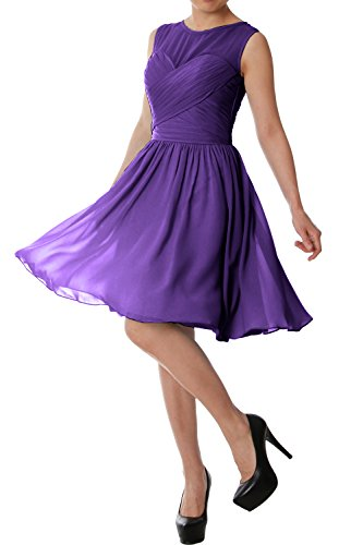 MACloth Violett Formal Bridesmaid Short Neck Chiffon Gown O Dress Elegant Wedding Party FW7znFTg