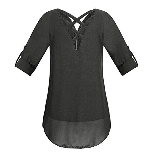 Shirt T Pure T Femmes Manches Blouse Zip Shirt Femme Shirts Chemisiers Courtes t Cou Blouses Noir Dbardeurs Casual Couleur V JIANGfu Tunique T Mousseline xYpOwZwq