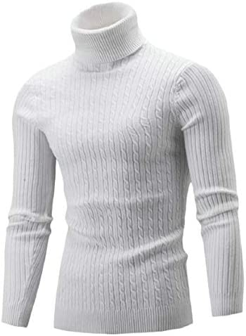 メンズファッションベーシックリブニットタートルネックロングスリーブスリムフィットプルオーバーセーター