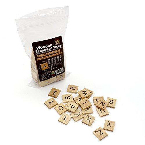 100 scrabble wood tiles complete set letter alphabet