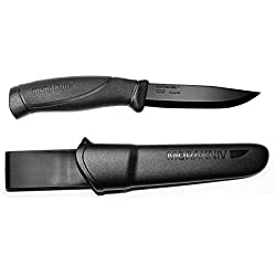 Morakniv Companion Black Fixed Blade Tactical Knife with Sandvik Stainless Steel Stealth Blade