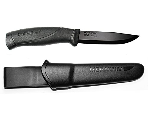 Morakniv M-12553 Companion Black Fixed Blade Tactical Knife with Sandvik Stainless Steel Stealth Blade and Plastic Sheath, 4.1-Inch