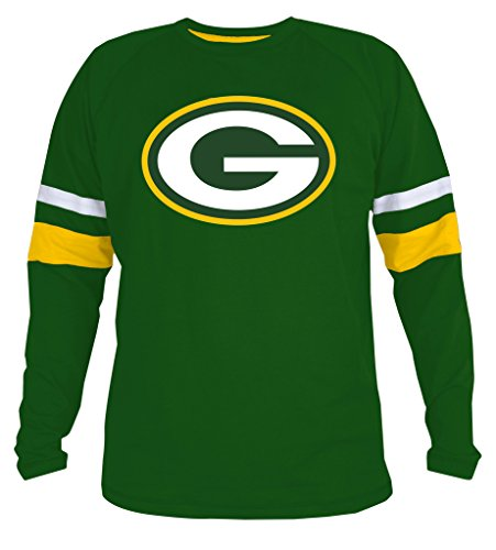 Green Bay Packers Apparel (Mens Packers Athletic Contrast Cotton T-Shirt - Green)