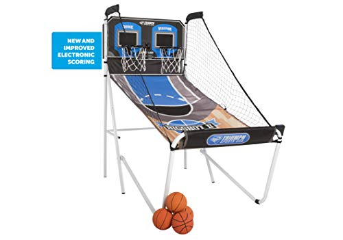 Double Shootout Basketball Game with LED Electronic Scorer and Time Clock for 8 Different Games (Electronic Basketball)